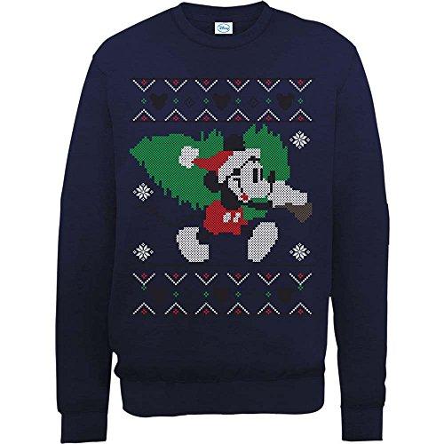 Brands In Limited Herren Sweatshirt Mickey Mouse Christmas Tree Blau - Blau (Marineblau)