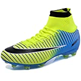 KAMIXIN Chaussures de Football Homme High Top Adulte Professionnel Chaussure de Foot Antidérapant Athlétisme Entrainement Adolescents Chaussures de Sport Vert 45EU