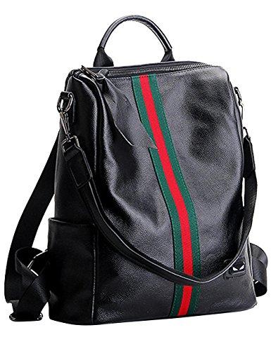 Donne Vera Pelle Scuola Borsa Casual Borsa Zainetto Rosso-Verde Strisce