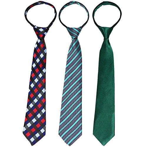 kilofly-Juego de 3PRE-TIED ajustable cremallera corbata para niños correa de cuello para bebé cuello set3 E 4 - 7 Años
