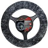 Torrex Lenkradbezug aus 100% Lammfell für Lenkräder mit Durchmesser Ø 37-39 Lenkradabdeckung Lenkradschoner (Farbe Anthrazit)
