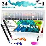 Xpassion Pennarelli a Punta Fine Morbida Colorati, Penne Colorate A Base d'Acqua,24 Pennarelli Acquerello Professionali da Disegno Punta 0.4 mm