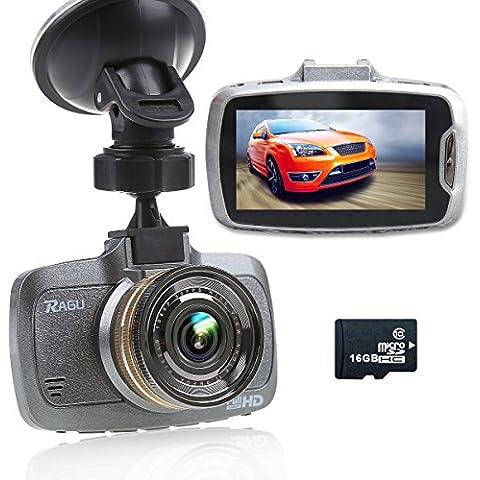 Ragu W23 - Videocámara DVR  para coche con 16 GB TF tarjeta, Pantalla LCD 2.7 pulgadas, 170°, resolución 1080P HD, visión