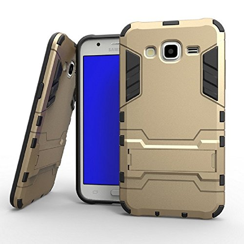 Heartly Graphic Designed Stand Hard Dual Rugged Armor Hybrid Bumper Back Case Cover For Samsung Galaxy J7 SM-J700F Dual Sim - Mobile Gold