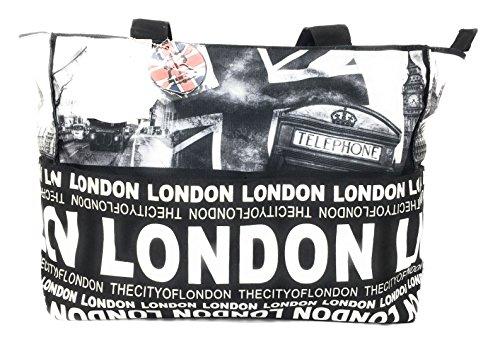Damen Robin Ruth London Fotos Große Schwarz-Weiß-Shopper-Tasche (Volle Front-logo-design)