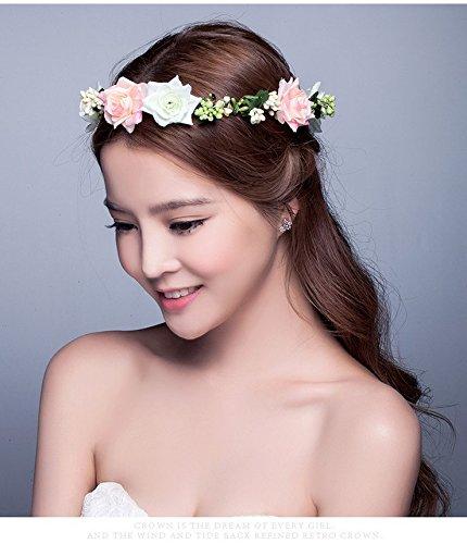 Aukmla Haarband für Frauen, für Hochzeiten, Haarkranz mit Blumen und Strass, Krone, für Strandurlaub