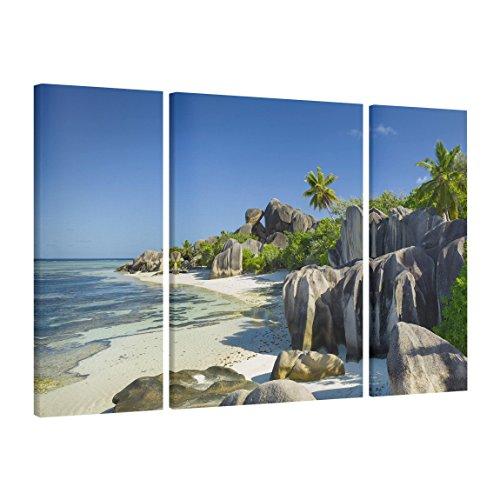 Bilderwelten Leinwandbild 3-teilig - Traumstrand Seychellen - Triptychon, HxB: 100x40cm 100x75cm...