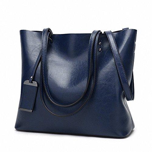 Womens Soft pelle borse grandi capacità retrò Vintage Top-manico casuale Tote borse a spalla Blu