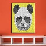 HANTAODG Stampa su Tela Divertente Arte della Parete-Panda-con-Occhiali da Sole su Tela per Soggiorno Decorazione della Casa Pittura A Olio su Tela Pittura Murale 50Cmx70Cm