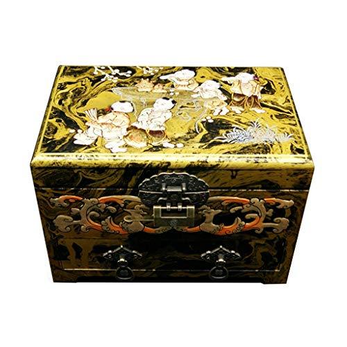 ZHAO YING DREI-Schicht High-Capacity Classic Kinder spielerische Muster handgemalte Lack Box Kunst, chinesische orientalische Möbel und Geschenke (Farbe : Gold) -