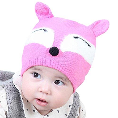 URSING Baby Jungs Mädchen Mütze Kappe Bequeme Baumwolle Buchstabe gedruckt Gestrickt Ball Warm Hüte süße Mütze Baskenmütze Wintermütze Strick Mütze für Fotoshooting (Rosa)