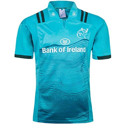 Herren Rugby Fan Trikot Outdoor Fußball Trikot Munster City Heim-Auswärts Rugby Trikots Leichte Kurzarmtrikots für Herren Fußball T-Shirts,Blue,XXXL -