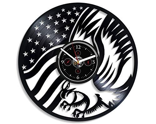 Kovides American Eagle Wanduhr USA Flagge Uhr Vogel Wanduhr Vintage Vinyl Schallplatte Retro Wanduhr Große Tier Wanduhr 30,5 cm Geburtstag Geschenk Adler Geschenk für Patrioten Neujahr Geschenk -