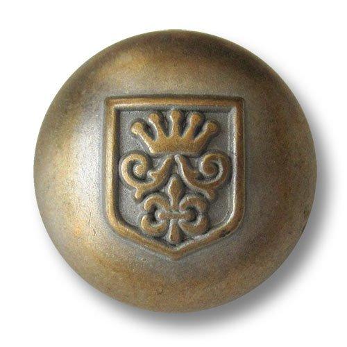 Knopfparadies - 6er Set stark gewölbte silbrig messingfarbene Ösen Metallknöpfe mit Wappen, Krone und Lilie / Messingfarben, Silbrig / Metall Knöpfe / Ø ca. 23mm - Wappen-knöpfe