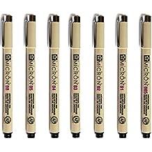 chengyida conjunto de 7pcs Sakura Pigma Micron–Rotulador de dibujo de archivo de tinta bolígrafos–negro, 7tamaño: 01-line: 0,25mm/02-line: 0,30mm/03-line: 0,35mm/04-line: 0,40mm/05-line