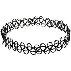 3x negro Tattoo Gargantilla Collar Vintage Stretch elástico Gargantilla Collar para mujeres niñas Lady