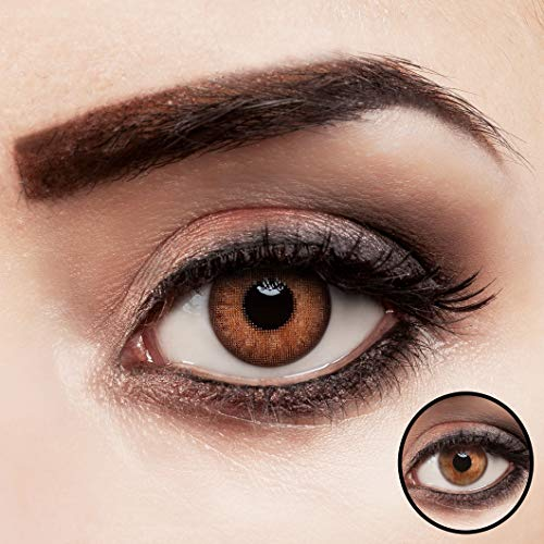 aricona Kontaktlinsen braun Hazel Love ohne Stärke farbige Jahreslinsen 2 Stück