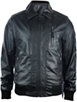 Mens Fitted Real Leather Jacket Bomber Vintage Aviator Style Badge Design Black Retro