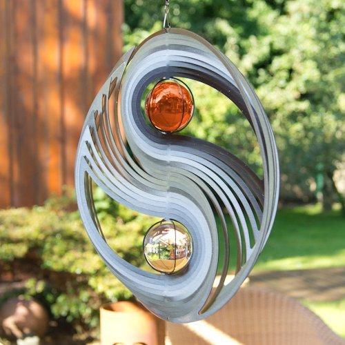 Edelstahl Windspiel - ORBIT YINYANG 300 - Ø300mm - Kugeln: 2xØ50mm - inklusiv Kugellagerwirbel, Haken und 1m Nylonschnur - 2
