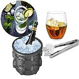 Schädel Form 3D Ice Genie Eiseimer Hirolan Eisbehälter Silikon mit deckel Platzsparend Eiswürfelbereiter Küchengeräte 2in1 Funktion Eiswürfelformen Eiseimer Saving Ice Cube (Schwarz, 10.3*10.3cm)
