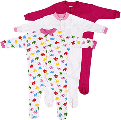 Baby Grow Minni Berry Long Sleeve Cotton Sleep Suit Romper Set of 3 For Girls (0-3M)
