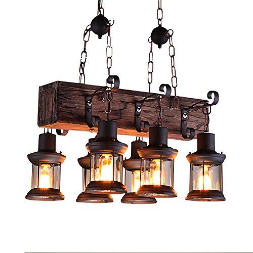 CL@ Américain Rétro Créativité Personnalité Vent Industriel Bois 6 Lamp Chandelier Applicable À Café/Bar/Restaurant Taille: 55x100cm Chaîne Suspendue Réglable Lustre
