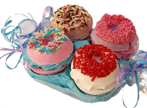 Badepralinen Geschenkset Lashuma - Donut - Wellness Set mit 4 Badtrüffel