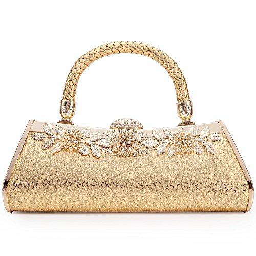 LONGBLE Damen gold Abendtasche mit Glitzer Kristall feine Metall Blumeform Handwerk und Schulterkett für Party Hochzeit