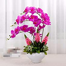XPHOPOQ Fiori finti Orchid fiori artificiali soggiorno Decoration Wedding Giardino viola Vaso in ceramica bianca