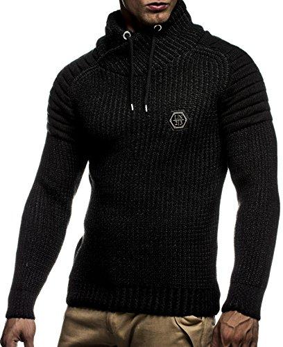 LEIF NELSON Herren Pullover Hoodie Strickpullover Longsleeve Sweatshirt Gesteppt Biker-Style Schalkragen LN5235; Gr_¤e S, Schwarz-Anthrazit (Gesteppte Strickjacke)