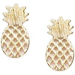 Happiness Boutique Damas Pendientes de Botón Piña en Oro | Pendientes Delicados de Estilo Minimalista Joyería de Moda Libres de Níquel