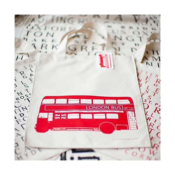 London Bus Canvas Bag (Tote) - handmade-bags