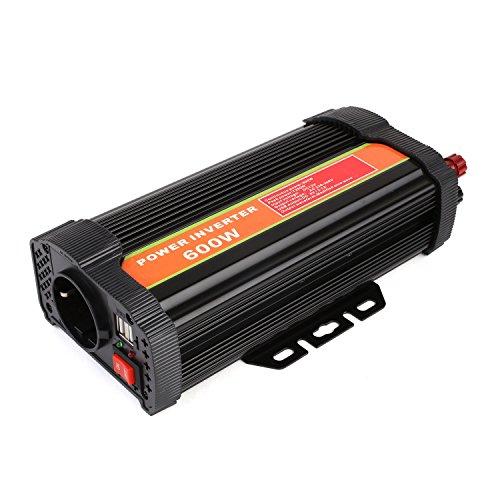 MVPOWER Inversor de Corriente, 12V 220V 600W, Convertidor para Coche con 2 Puertos USB 5V/2.1A, Transformadores de Corriente de Viaje, Material de Aluminio