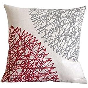 Grau und Granat Kissen. Leinen- baumwoll kissenbezug 40 x 40 cm. Geometrische Muster von BeccaTextile.
