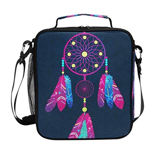 CPYang Bolsa de almuerzo aislada bolsa de hombro atrapasueños tribal animal plumas lonchera bolsa térmica con correa para el hombro para mujeres y hombres