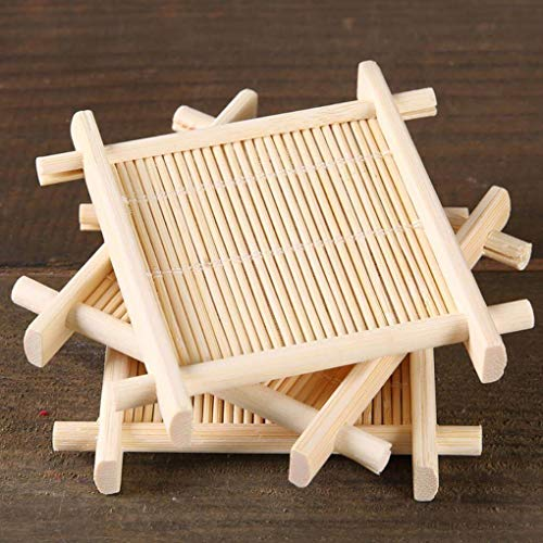 4pcs Bambus Tee Tasse Mat Coaster Kung Fu Tee Verbrühungssichere Tasse Mat Coaster Bambus Coaster Set