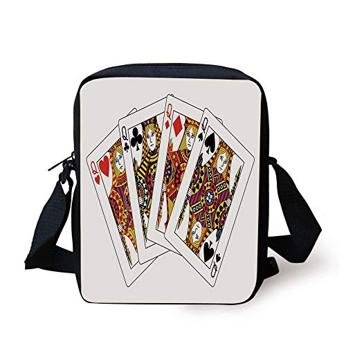 CBBBB Queen,Queens Poker Set Faces Hearts and Spades Gambling Theme Symbols Playing Cards,Black Red Yellow Print Kids Crossbody Messenger Bag Purse -