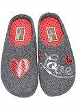 Manitu Home Damen Hausschuhe Pantoffel Wollfilz Love Herz Grau (40 EU)