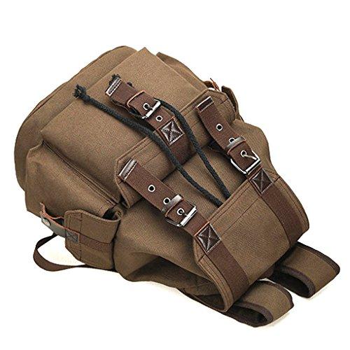 Qotone grande capacità multi-funzione unisex viaggio zaino canvas borsa a tracolla scuola borsa zaino ad alta capacità, Black Brown