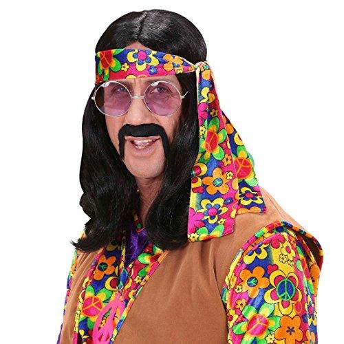 Schwarze Herren Hippie Perücke Dude Hippieperücke Herrenperücke 60er 70er Jahre Fasching Karneval (Perücke Schwarze Erwachsene Hippie)