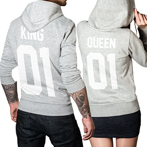 #King Queen 01 SET 2 Hoodies Pullover Pulli Liebe Love Pärchen Couple Grau (King Gr. L + Queen Gr. M)#