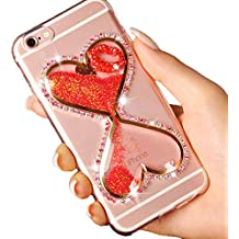 Vandot Coque iphone 6 Plus / 6S Plus, Housse iPhone 6 Plus / 6S Plus, Etui iPhone 6 Plus / 6S Plus Case Cover Étui de protection Lumineux Brillant Diamant Couverture de téléphone transparent TPU Silicone Soft Back Case Glitter Dynamic Drifting Fluide Flottant Liquid Bling Brillant Phone Case Thin Noctilucent Nuit Cristal Transparent Cell Phone Protector Sac Cas-Rouge