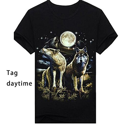 ETASSO Herren Kurzarm T-Shirt 3d Aufdruck Tier Shirt Luminous Tops Wolf 2