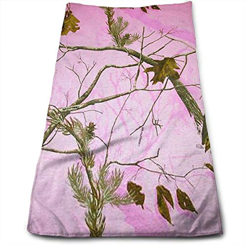 ERCGY Pink Realtree Camo Soft Polyester Large Hand Towel- Multipurpose Bathroom Towels for Hand, Face, Gym and Spa -