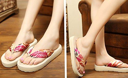 Butterme Femmes Bohème Floral Sandales Dété Plage Chaussures Sandale Wedge Plate-forme Accueil Tongs Pantoufles Beige