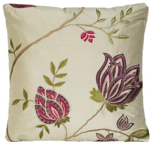 Rose-Cuscino ricamato, colore rosa e viola floreale