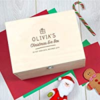 Christmas Eve Box for Children - Personalised Christmas Eve Box - Large Wooden Christmas Eve Box