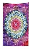Abakuhaus Mandala Wandteppich und Tagesdecke Bunte asiatische Motiveaus Weiches Mikrofaser Stoff 140 x 230 cm Farben ohne verblassen Multicolor