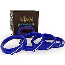 Molde anillo de silicona para huevos/tortitas. Caja de 4 anillos antiadherentes azules YumYum Utensils