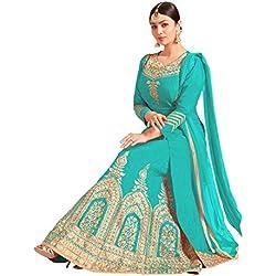 Designer Desk Women'S Silk A-Line Lehenga Choli /Semi Stitched /Free size Party Wear Lehenga Choli- Sky Blue